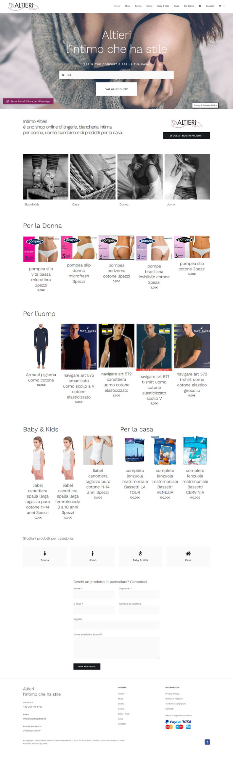 Intimo Altieri - Online Shop - Sito web e-commerce - Setteweb.com Portfolio Sito Web WordPress 7Web 2020