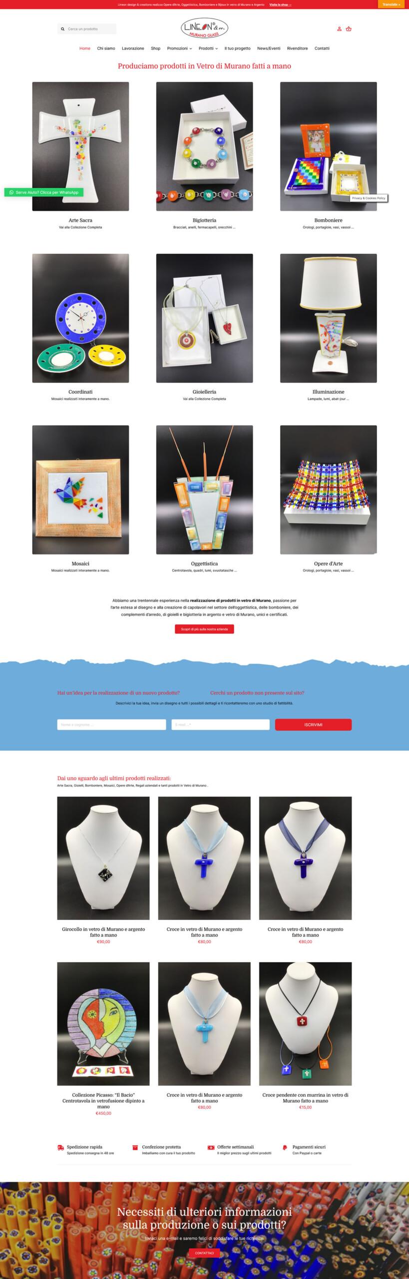 Murano-Glass.Shop - 7Web Portfolio Web Online shop con WordPress woocommerce, siti web shop